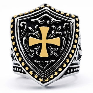 Goldplated Stainless Steel Men's Cast Cross Biker Ring