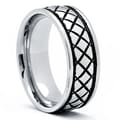 Stainless Steel Men's Crosshatch Cast Wedding Band
