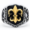Goldplated Stainless Steel Men's Cast Fleur de Lis Shield Biker Ring