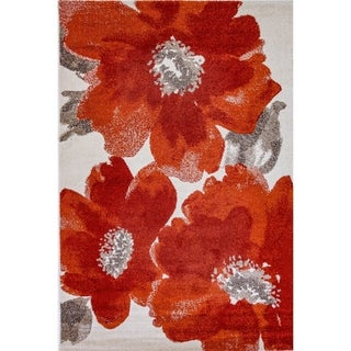 Eternity Floral Ivory Red Rug (3'11 x 5'7)