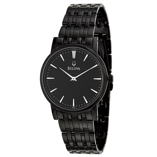 Bulova Men's 'Dress 98A122' Black Stainless Steel Black Dial Quartz Watch