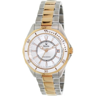 Bulova Women's 'Winter Park 98M113' Two-tone Stainless Steel White Dial Analog Quartz Watch