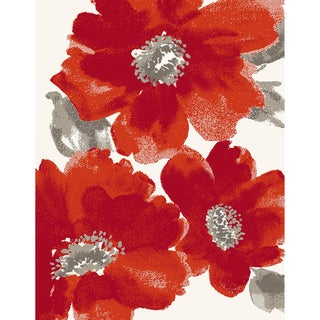 Eternity Floral Ivory Red Rug (5'3 x 7'7)