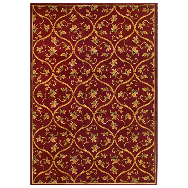 Domani Elegance 5336 Red Vine Brocade Area Rug (7'7 x 10'10)