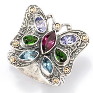 Neda Behnam Samuel B. Sterling Silver and 18k Gold Multi-gemstone Butterfly Ring