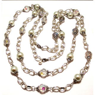 Silverplated Clear Crystal and White Glass Pearl Jewelry Set