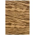 Cream/ Light Brown Abstract Rectangle Rug (3'11 x 5'3)