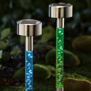 Stainless Steel Solar Color Changing Bubble Garden Path Lights (Set of 8)
