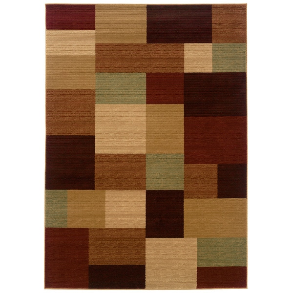 LNR Home Opulence Cream/ Cherry Geometric Rug (3'11 x 5'3) 11426258
