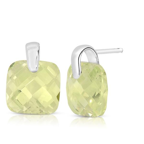 Sterling Silver Cushion-cut Light Green Cubic Zirconia Stud Earrings