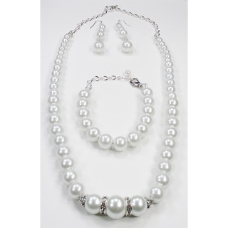 Silverplated White Glass Pearl Wedding Jewelry Set