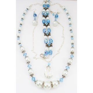 Light Blue Crystal and White Glass Pearl Jewelry Set