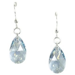 Jewelry by Dawn Sterling Silver Teardrop Light Blue Shade Crystal Pear Earrings