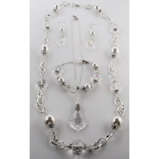 Large White Glass Pearl and Clear Crystal Jewelry Set