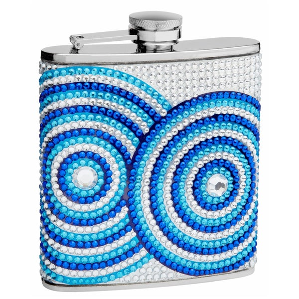Genuine Rhinestone Hip Flask with Circle Pattern