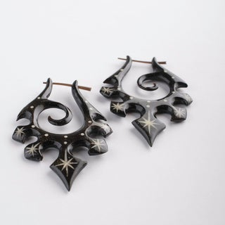 Water Buffalo Horn 'Royal Orchid' Earrings
