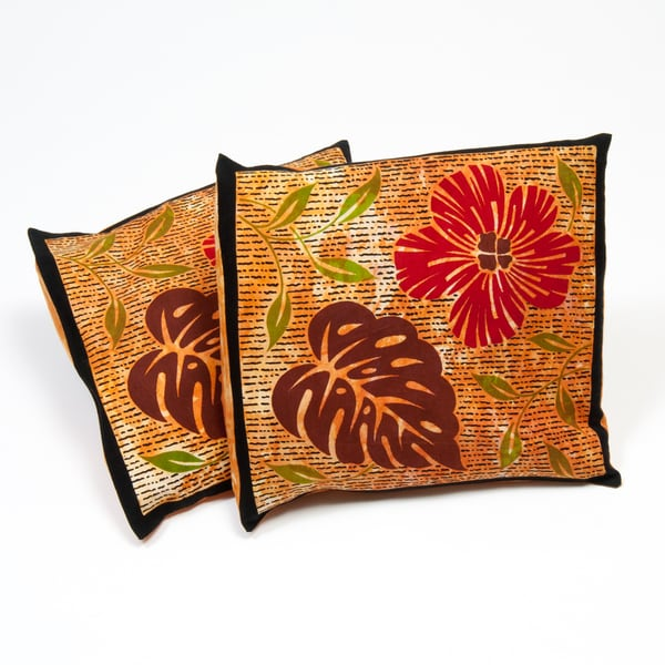 Set of Two Mustard Colored Cotton Cushion Covers (India)