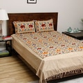 Gujarati Bedspread and Pillow Cases with Printed Stylized Elephants (India)
