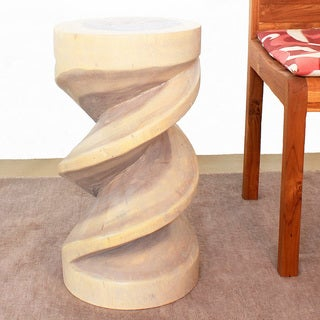 Spiral Zig Zag 12-Inch Diameter x 22-Inches High Agate Grey Oil Monkey Pod Wood Stool (Thailand)