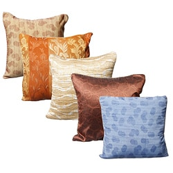 Set of Five Cushion Covers with All-Over Thread Weave (India)