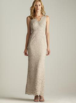 Adrianna Papell Back Slit V-Neck Lace Gown
