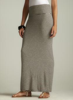 Max Studio Striped Foldover Waist Maxi Skirt