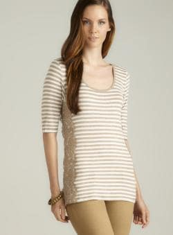 Max Studio Lace Side Striped Knit Top
