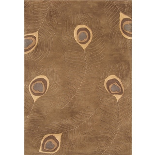 Alliyah Handmade Peacock Brown New Zealand Blend Wool Rug (9'x12')