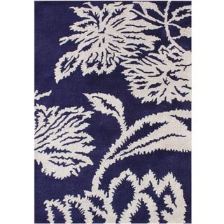Alliyah Hand Made Tufted Orient Blue New Zeeland Blend Wool Rug (9'x12')