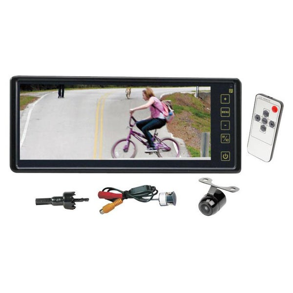 "Pyle PACM8900 8.1"" TFT LCD Monitor w/ Dual Universal Mount, Rear View & Backup Color CMD Distance Scale Line Camera"