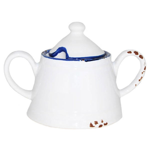 Hand-painted Enamel Vintage-style Sugar Bowl