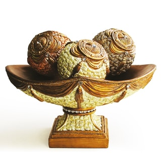 Decorative 4-piece Wood Bowl and Orbs Accent Piece