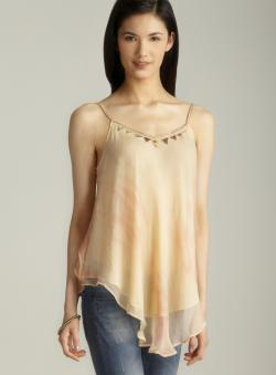 Free People Ruffle Back Beaded Neckline Crepe Top