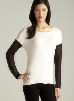 Jaye.e. Mesh Sleeve & Back Hem Jersey Top