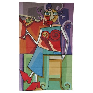Handmade 'Red Martini Lady' Fabric Tapestry , Handmade in India