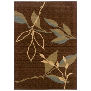 LNR Home Opulence Brown/ Light Moss Contemporary Floral Rug (3'11 x 5'3)