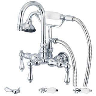 Water Creation Chrome 3 3/8-inch Center Wall Mount Gooseneck Spout Tub Faucet, Straight Wall Connector and Handheld Shower