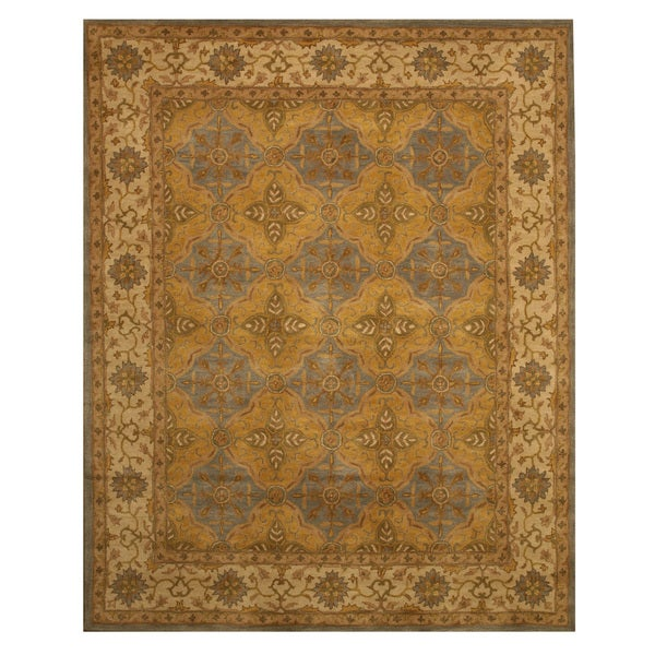 EORC Hand-tufted Wool Gold Panel Agra Rug (7'9 x 9'9)