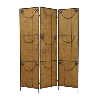 Lone Star 3-Panel Wood and Metal Screen (China)