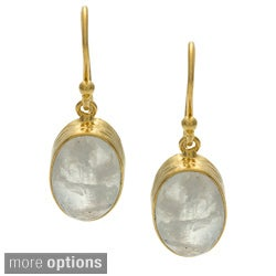 Handmade Goldplated Silvertone Moonstone Earrings (India)