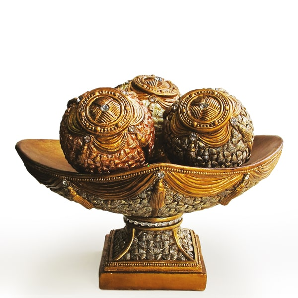 Decorative Bowl and Orb 4-piece Set