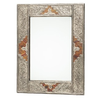 Metal and Leather Mirror (Morocco)