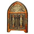 Arched Henna Bone Mirror with Doors (Morocco)