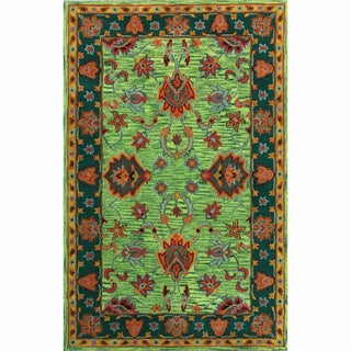 nuLOOM Handmade Overdyed Traditional Green Wool Rug (4' x 6')