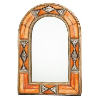 Classic Dimensional Arched Henna Bone Moroccan Mirror (Morocco)