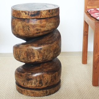 12-Inch Diameter x 22-Inch High Mocha Oil Spiral Column Stool (Thailand)