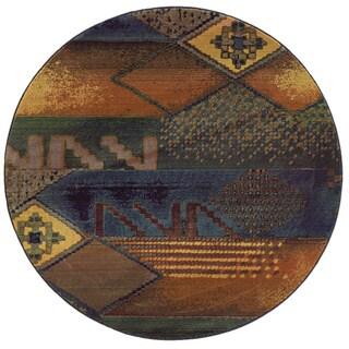 Kharma II Blue/ Green Rug (6' Round)