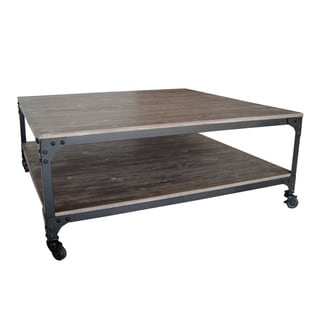 Distressed Wood and Metal Coffee Table (China)