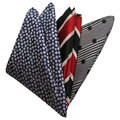 Dmitry Men's Blue/Gray/Red Italian Silk Pocket Squares (Pack of 3)