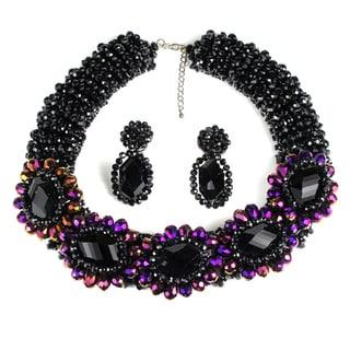 Exquisite Beauty Purple Rainbow Prism Crystals Jewelry Set (Thailand)